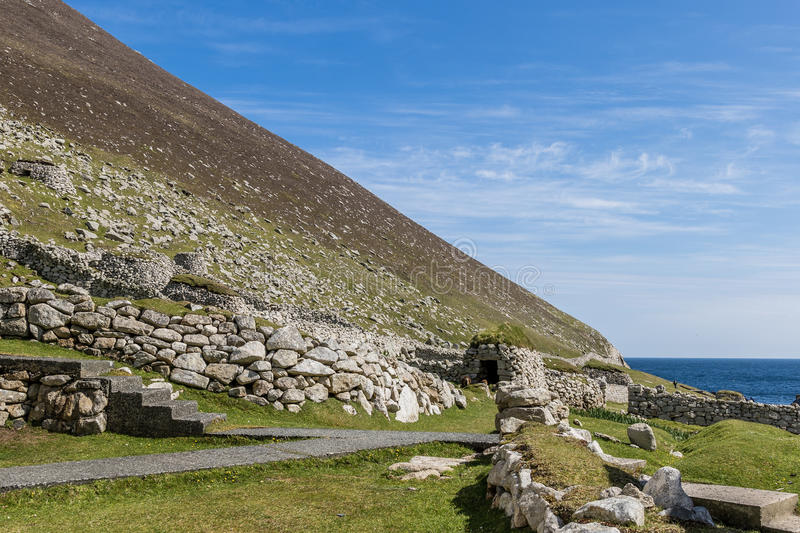 Ruins of the village. On Hirta island, St. Kilda, Scotland royalty free stock photos