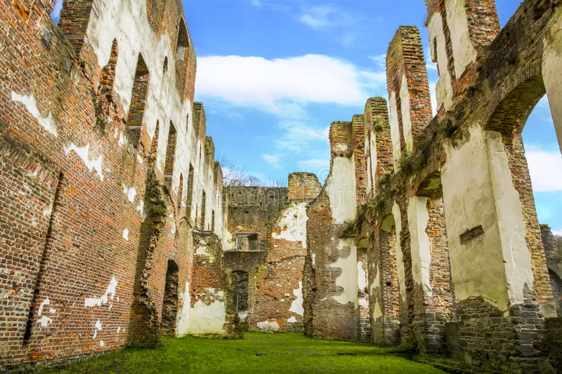 Ruins of the Villers-la-ville abbey church. Walls of the ruins of the Villers-la-ville abbey church under a beautiful sunny sky, Belgium royalty free stock photos