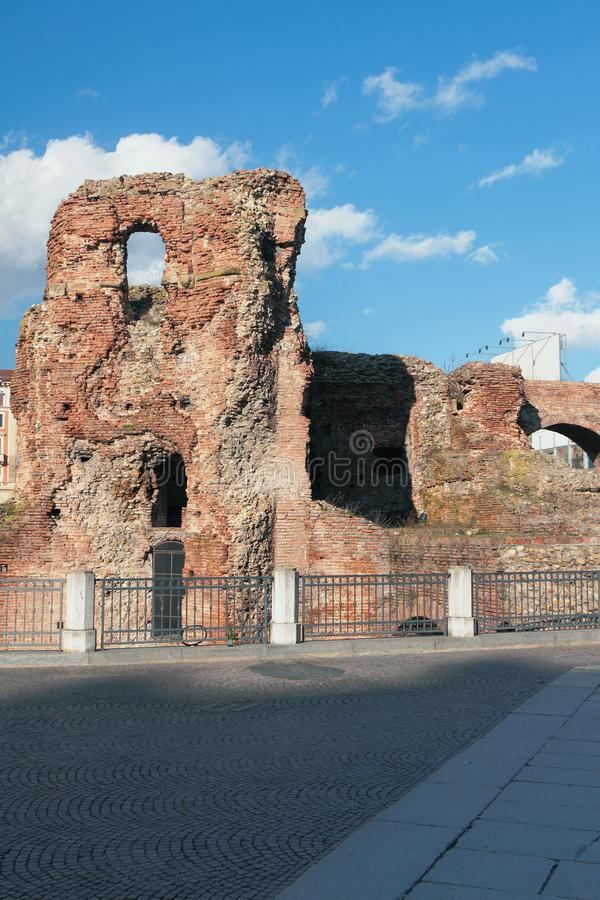 Ruins of walls of ancient castle Rocca Galliera. Bologna, Emilia-Romagna, Italy royalty free stock photography