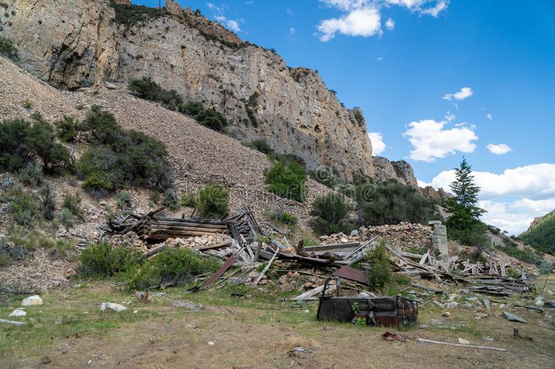 Ruins of what is left of Bayhorse Ghost Town in Idaho, a former mining town stock photography