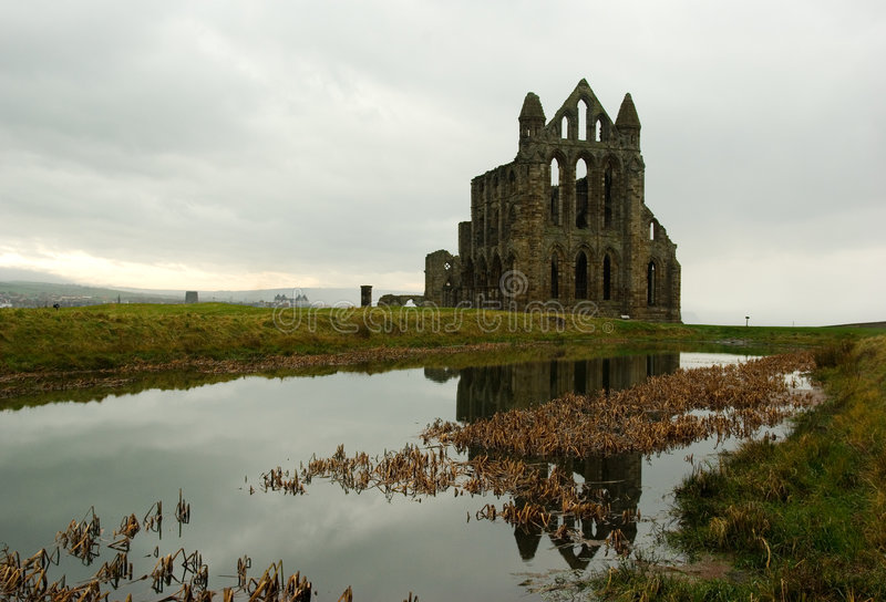 The ruins of the Whitby Abbey stock photo