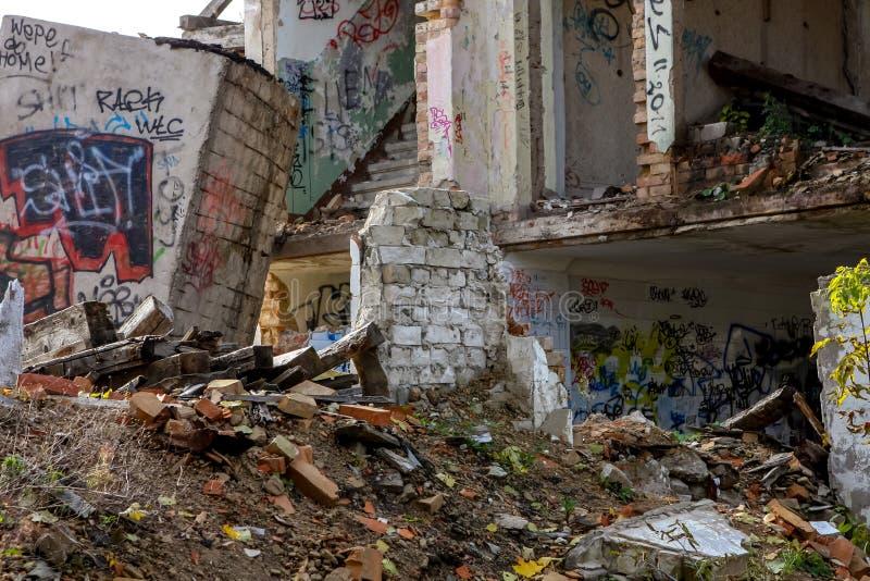 Ruins of white bricks house. Demolition of white bricks building. White bricks house in ruins. Saldus, Latvia stock photo