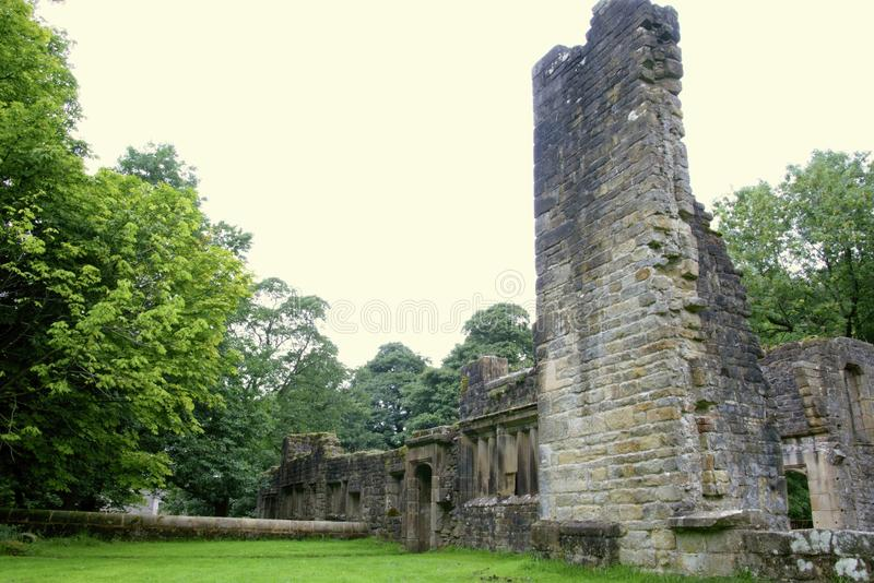 The ruins of Wycoller hall. The ruins of Wycoller hall near Coln in Lancashire, England which before it came into disrepair was thought to be the inspiration stock photo