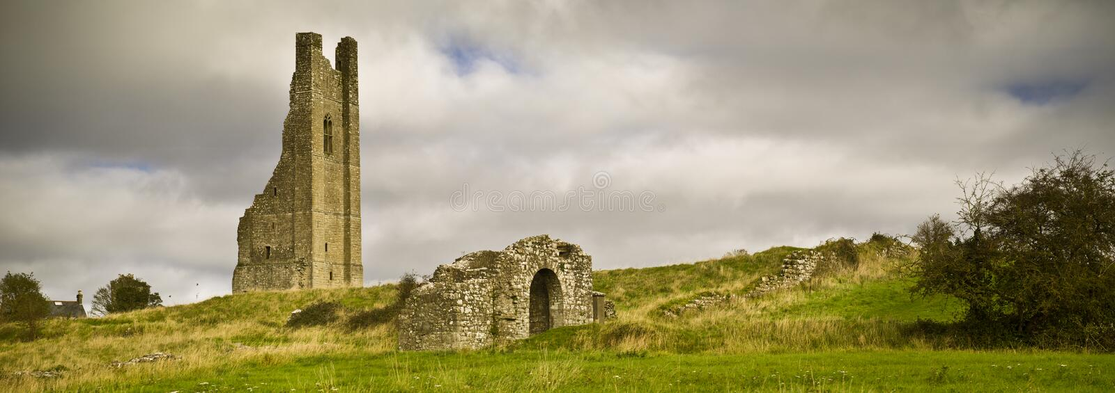 Ruins of The Yellow Steeple at St Mary`s Abbey, Trim, County Meath, Ireland. Panoramic view royalty free stock photos