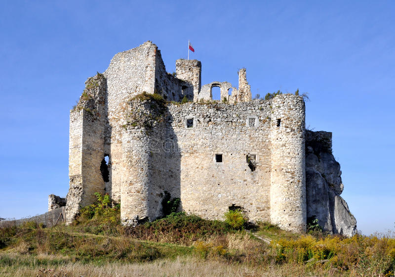 Ruins of Zamek Mirow Castle, Poland stock images