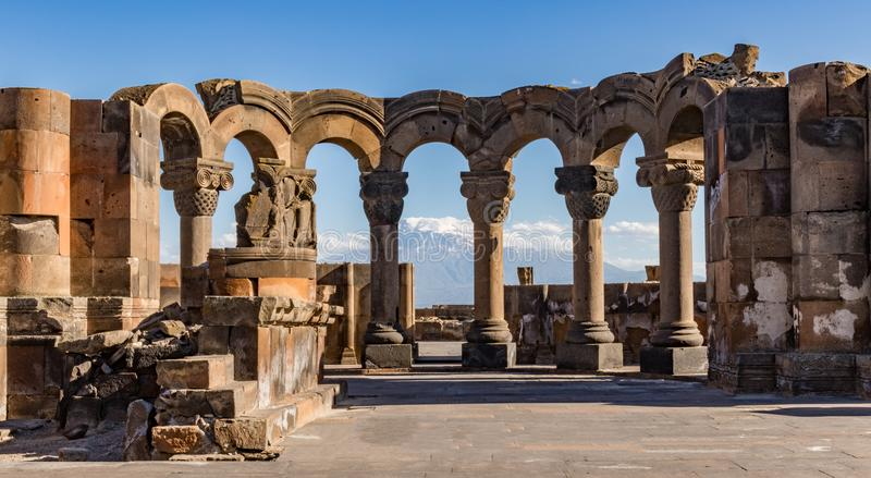 Ruins of the Zvartnos temple in Yerevan, Armenia. With Mt Ararat in the background stock photos