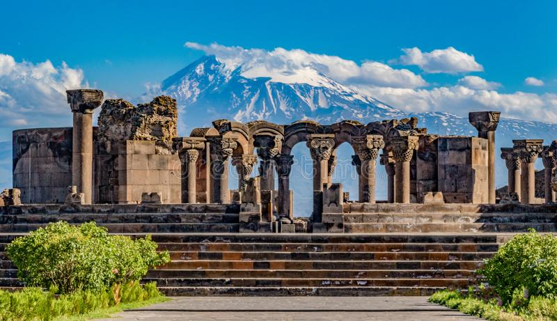 Ruins of the Zvartnos temple in Yerevan, Armenia. With Mt Ararat in the background royalty free stock photos