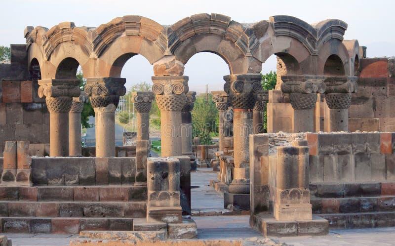 Ruins of Zvartnots near Yerevan stock photo