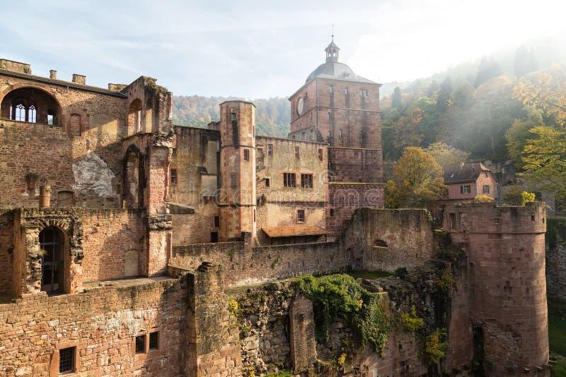 Ruiny średniowieczny kasztel - Heidelberg Niemcy obraz royalty free