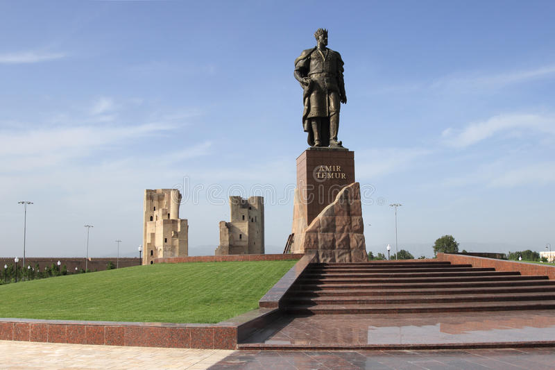 Ruiny Aksaray pałac emir Timur w Shakhrisabz i zabytek, Uzbekistan fotografia stock