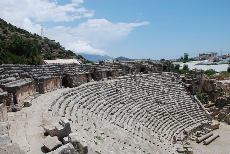 Ruiny amfiteatr antyczny miasto w Turcja blisko Antalya obrazy royalty free