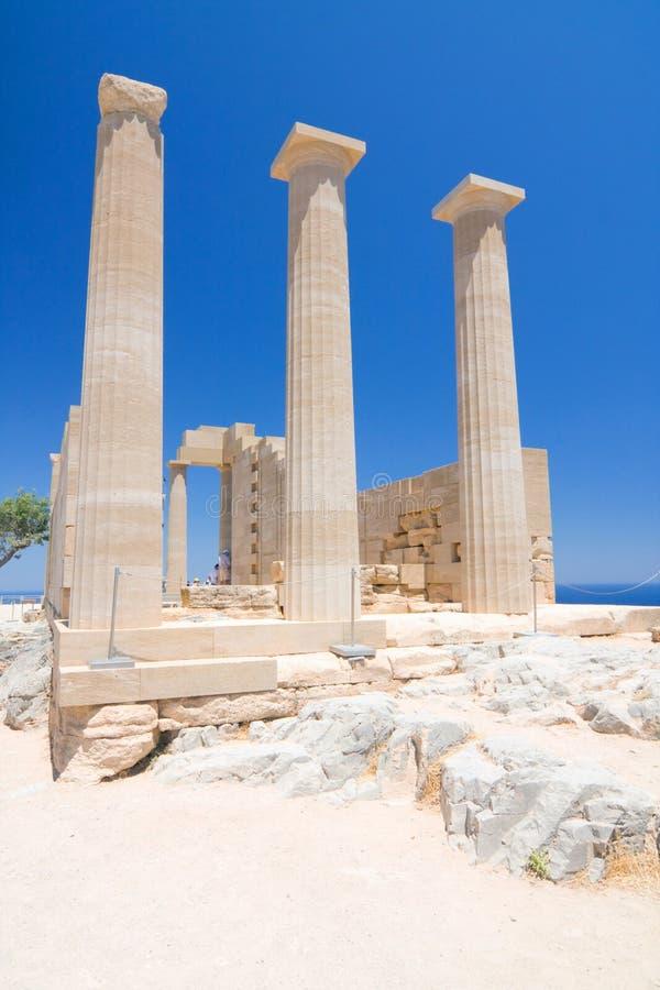 Ruiny antyczna świątynia. Lindos. Rhodes wyspa obrazy stock