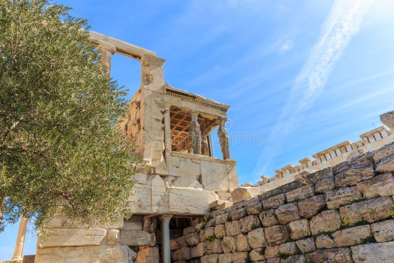 Ruiny antyczna świątynia na akropolu wzgórzu obraz stock