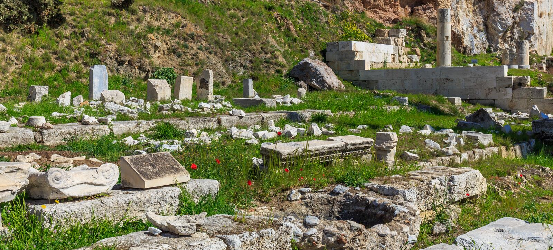 Ruiny antyczna świątynia na akropolu wzgórzu fotografia royalty free