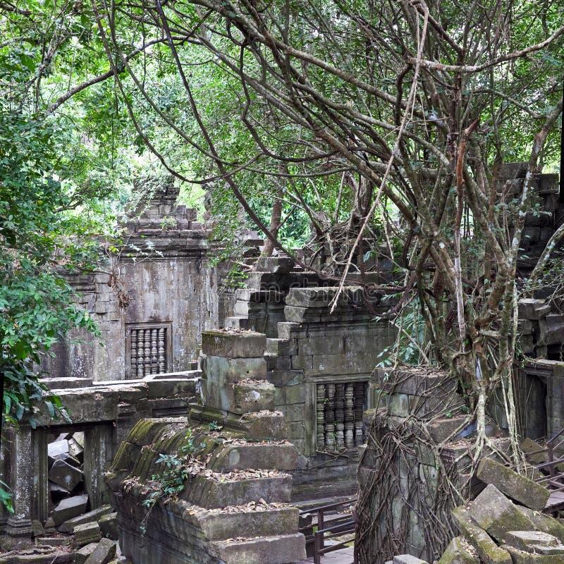 Ruiny antyczna Beng Mealea świątynia nad dżunglą, Kambodża obraz stock