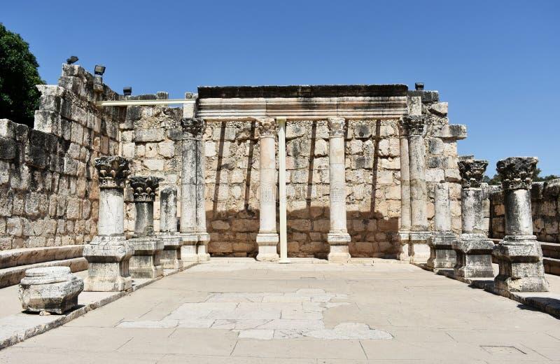 Ruiny antyczna synagoga w Capernaum, Izrael obrazy stock
