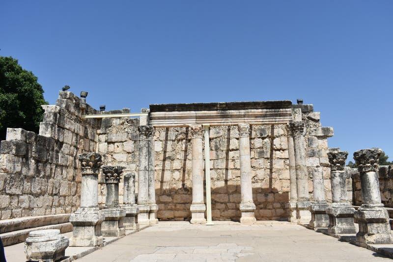 Ruiny antyczna synagoga w Capernaum, Izrael zdjęcia royalty free