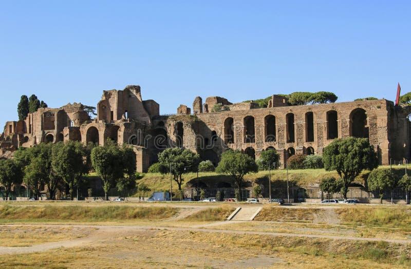 Ruiny antyczni skąpania Caracalla w Rzym, Włochy obraz royalty free
