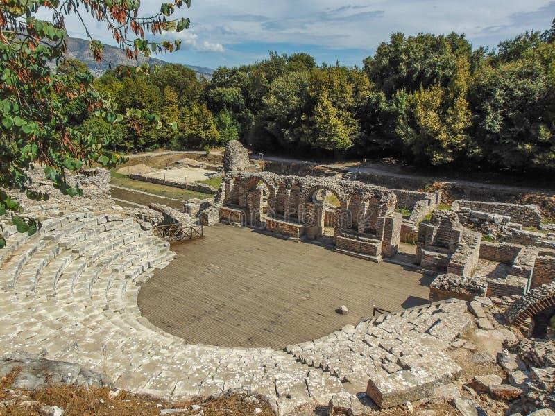Ruiny antyczny Buthrotum theatre zdjęcie royalty free