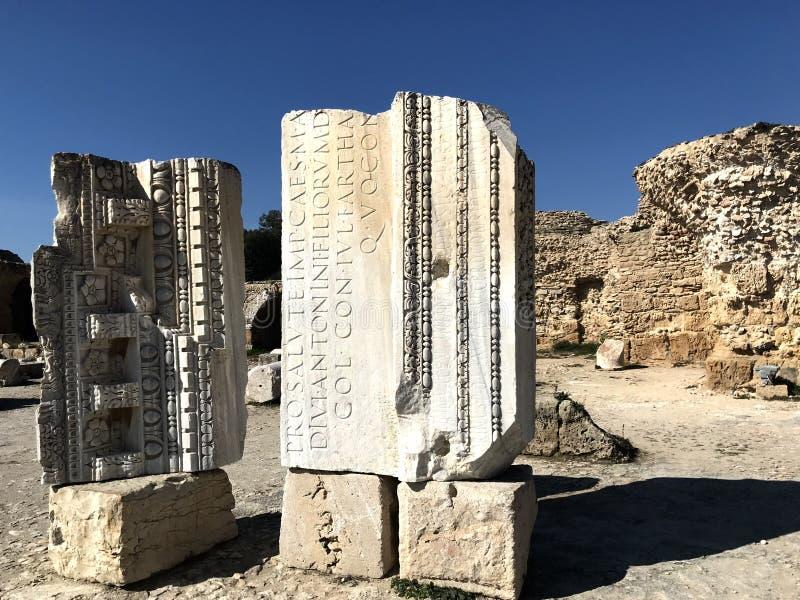 Ruiny Antyczny Carthage - Archeologiczny miejsce Carthage obrazy royalty free