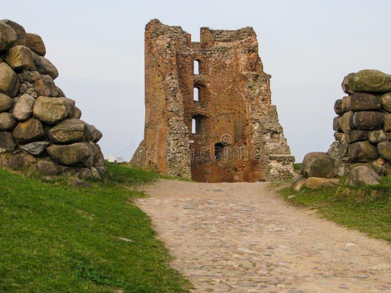 Ruiny antyczny feodalny kasztel obrazy royalty free