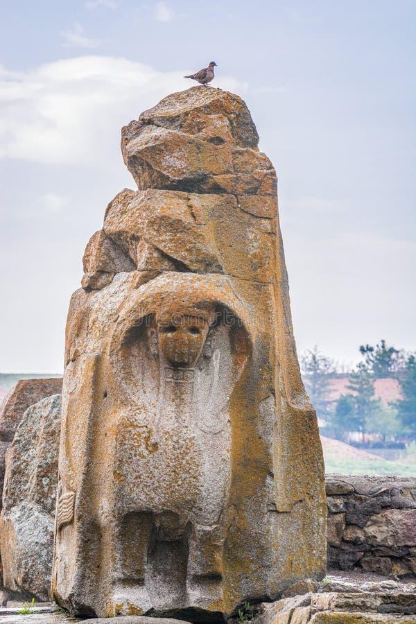 Ruiny antyczny Hittite miasto Alacahoyuk, necropolis w Turcja zdjęcie stock
