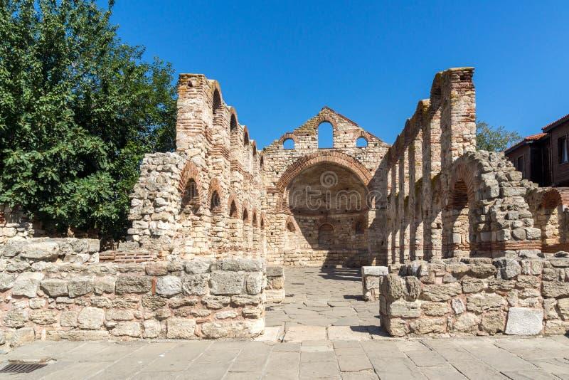 Ruiny Antyczny kościół święty Sophia w miasteczku Nessebar, Burgas region, Bułgaria zdjęcia royalty free