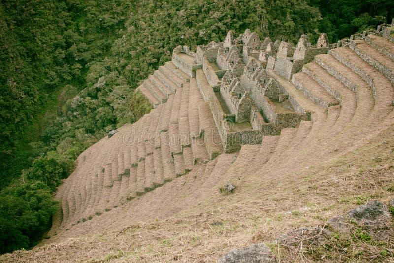 Ruiny antyczny miasteczko na inka Wlec Mach Picchu, Peru obrazy royalty free