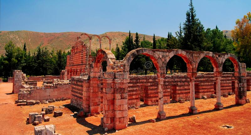 Ruiny antyczny miasto Anjar, Bekaa dolina Liban zdjęcia royalty free