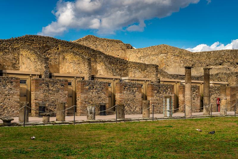 Ruiny antyczny miasto Pompeii blisko wulkanu Visuvius, Pompei zdjęcia royalty free