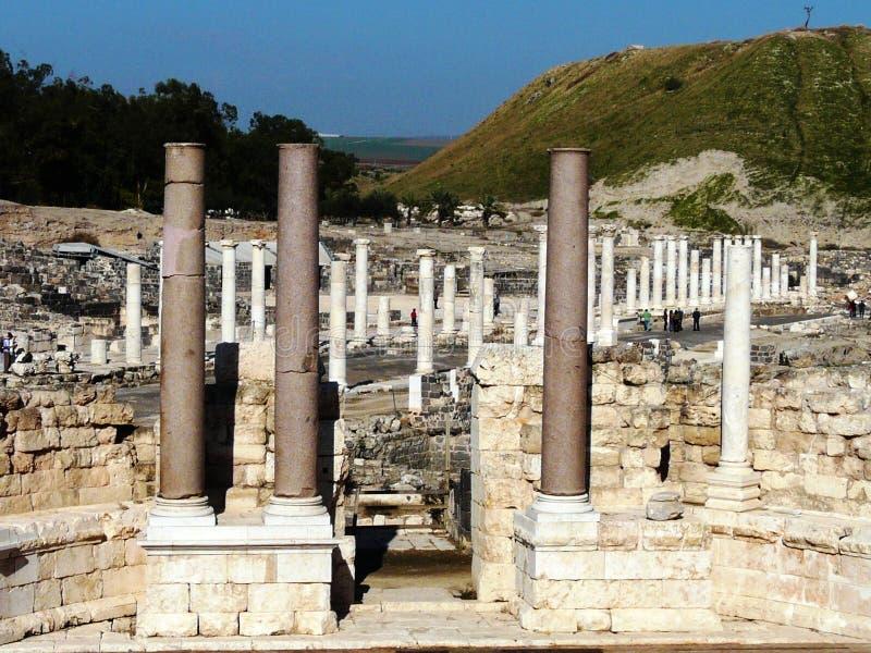 Ruiny antyczny miasto Scythopolis, Beit Shean, Izrael fotografia royalty free