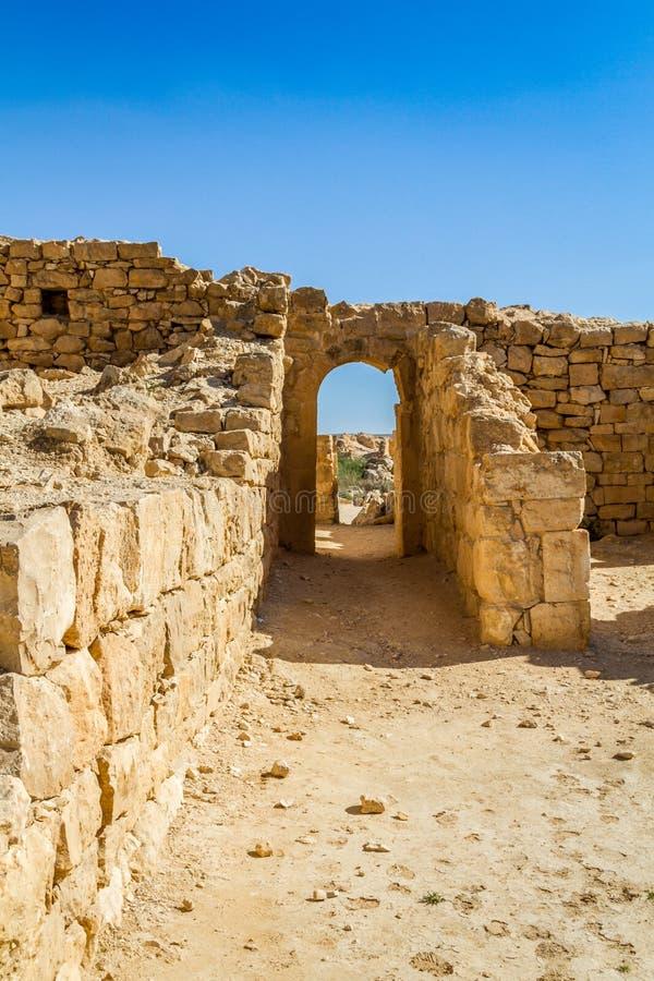 Ruiny antyczny Nabataean miasteczko Shivta zdjęcie stock