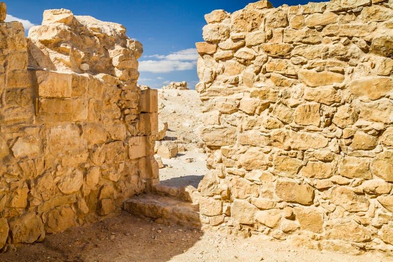 Ruiny antyczny Nabataean miasteczko Shivta zdjęcia stock
