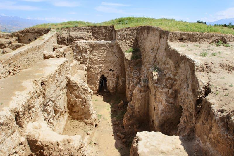 Ruiny Antyczny Panjekent blisko nowożytnego Penjikent miasta, Tajikistan fotografia stock
