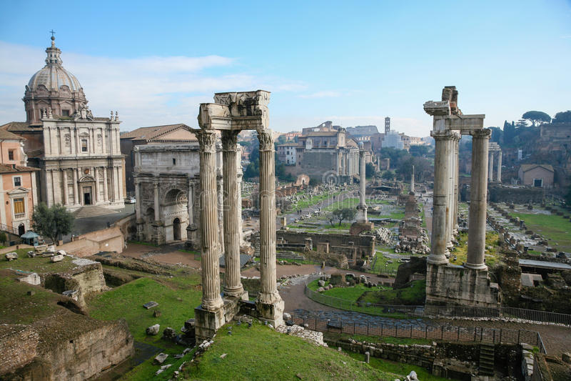 Ruiny antyczny Romański forum w Rzym zdjęcia royalty free