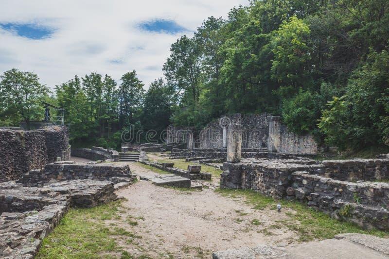 Ruiny Antyczny Theatre Fourviere, w Lion, Francja zdjęcia stock