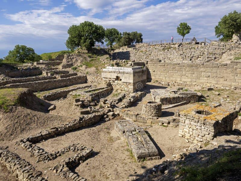 Ruiny antyczny Troia miasto, Canakkale Dardanelles/Turcja zdjęcia royalty free
