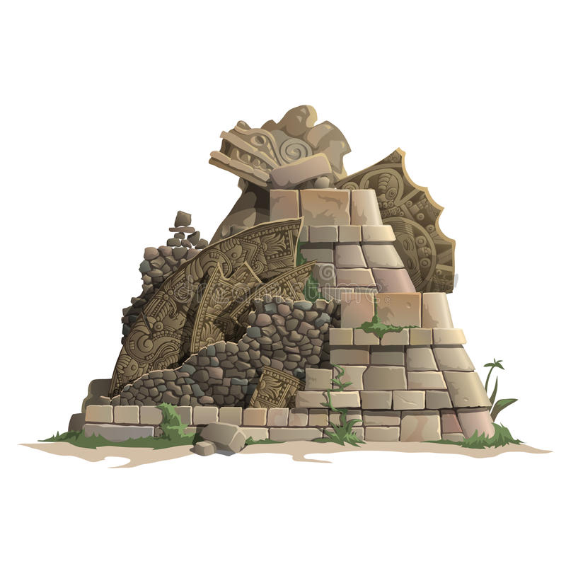 Ruiny antykwarski Majski ostrosłup, kreskówka styl royalty ilustracja