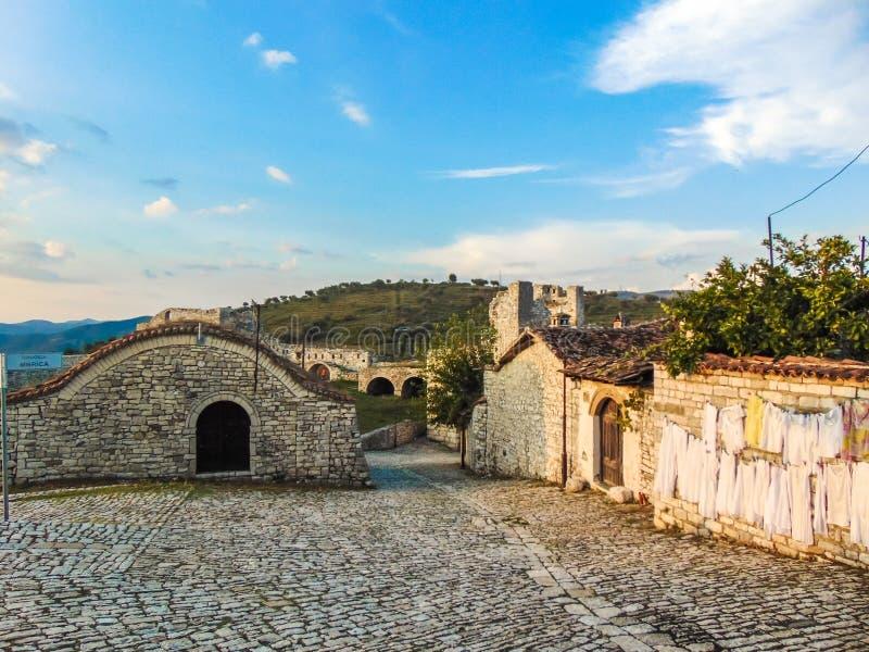 Ruiny Berat kasztel, Albania zdjęcie stock