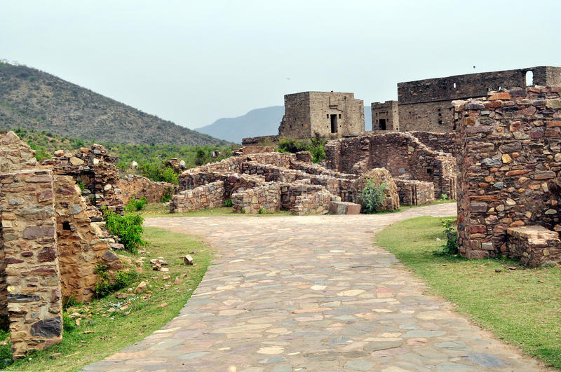 Ruiny Bhangarh fort obrazy stock