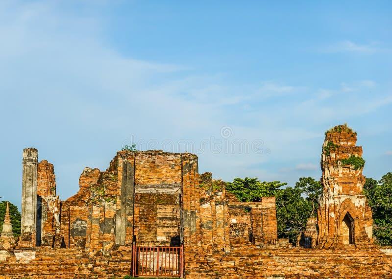 Ruiny Buddha pagoda w Wacie Mahathat i statuy, Phra Nakhon Si Ayutthaya zdjęcia stock