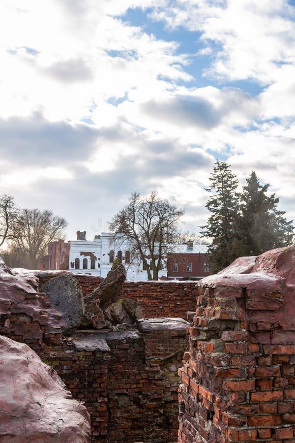 Ruiny budynek inżynierii administracja w Brest fortecy, Białoruś zdjęcie stock