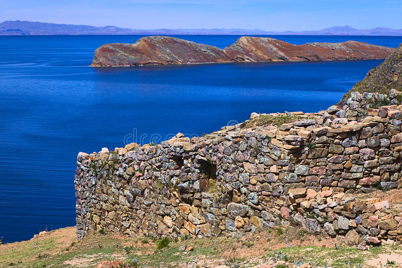 Ruiny Chinkana na Isla Del Zol na Jeziornym Titicaca, Boliwia zdjęcia royalty free