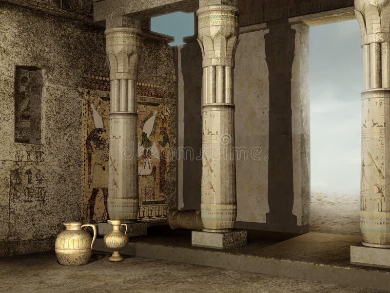 Ruiny Egipski budynek royalty ilustracja