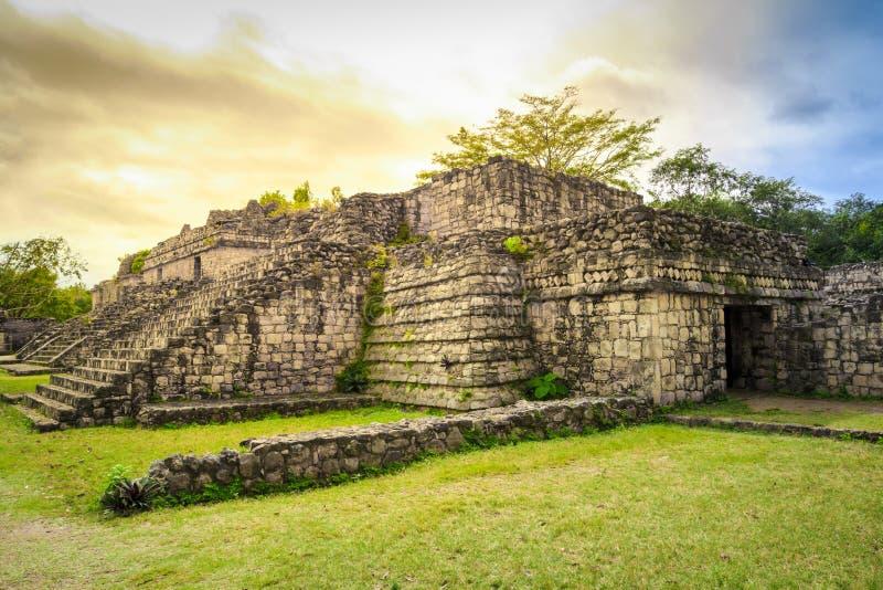 Ruiny Ek Balam antyczny Majski miasto w Meksyk obraz royalty free