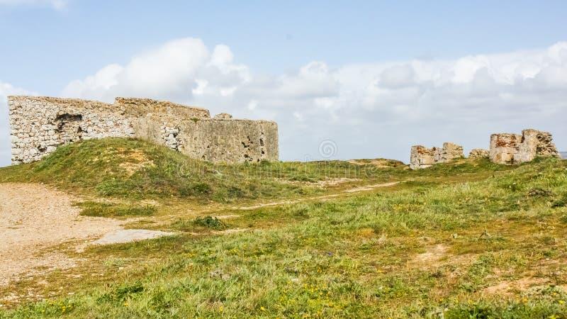 Ruiny forte da Luz fort światło, na Portugalskim westernu wybrzeżu, Peniche zdjęcie stock
