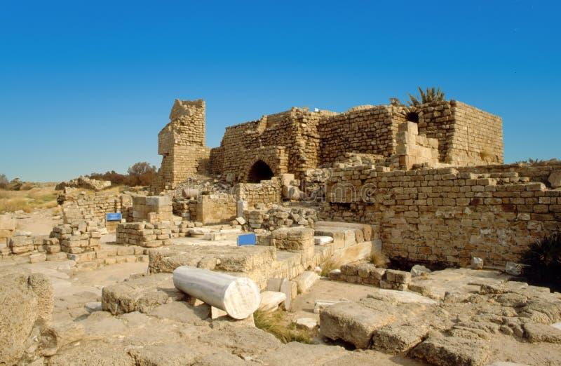 Ruiny forteca, Izrael dziejowy miejsce w Judejskiej pustyni zdjęcie royalty free