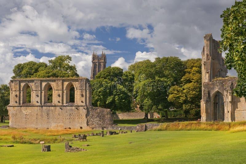 Ruiny Glastonbury opactwo, Somerset, Anglia fotografia stock