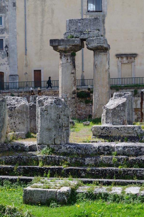 Ruiny Grecka świątynia Apollo w Syracuse zdjęcia royalty free