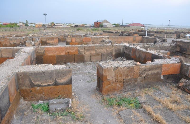 Ruiny intymni pokoje blisko świątyni Zvartnots Armenia obrazy stock